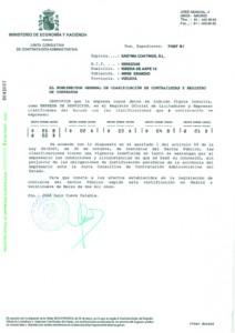 Certificado Registro Oficial de Licitadores y Empresas Clasificadas del Estado Coatings